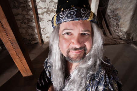 Witty European male wizard with long hair and beard Imagens