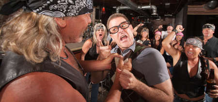 Angry nerd threatens bully gang member in bar