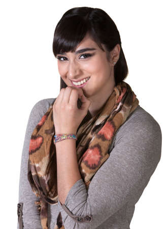 Grinning female hipster with fingers on chin Stock Photo - 17703258