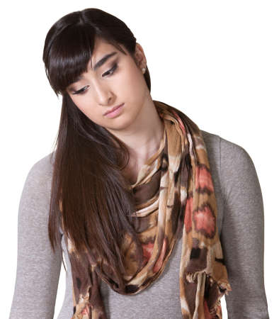 Sad young woman in scarf looking down Stock Photo - 17703247