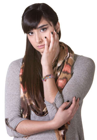 Depressed young woman with face in hands Stock Photo - 17703253