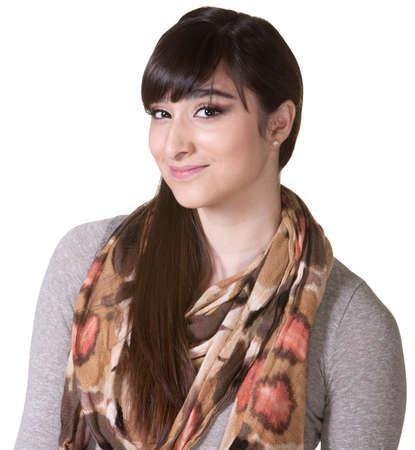 Hipster bonita con sonrisa sobre fondo blanco Foto de archivo - 17703233