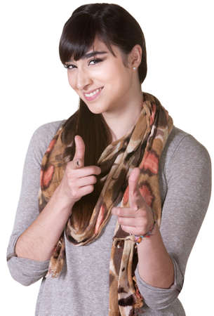 Cute Latina aiming ahead with index fingers Stock Photo - 17703243