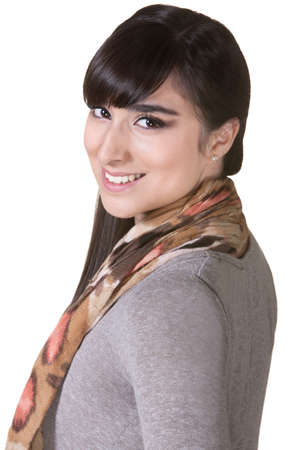 Happy young Mexican woman over isolated background Stock Photo - 17703254