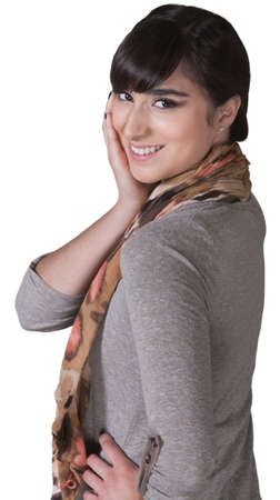 Smiling young Hispanic female with hand on cheek Stock Photo - 17703241