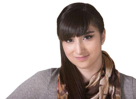 Grinning Hispanic female with scarf on isolated background Stock Photo - 17703240