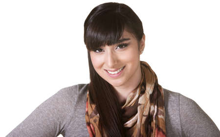 Cute young Hispanic female with smile and scarf photo