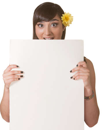 Surprised Native American woman holding a blank poster photo
