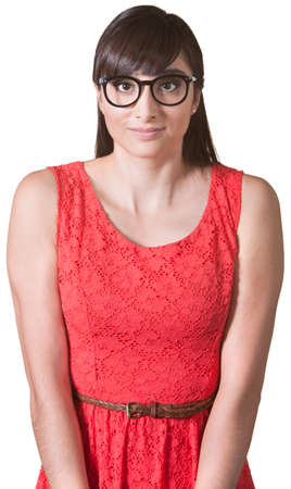 Young lady with glasses and hunched shoulders Stock Photo - 17703261