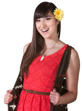 Happy young woman in red over isolated background Stock Photo - 17801505