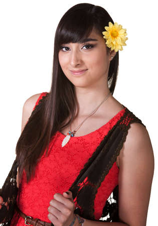 Cute Latina with yellow flower in hair over white Stock Photo - 17801529