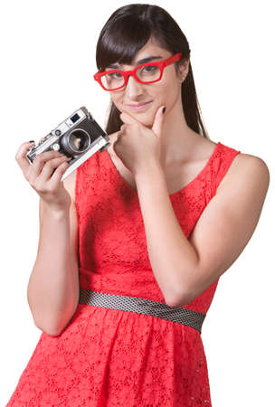 Pensive woman with red eyeglasses and camera Stock Photo - 17801527