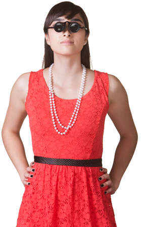Woman with hands on hips wearing jewelers glasses Stock Photo - 17801524