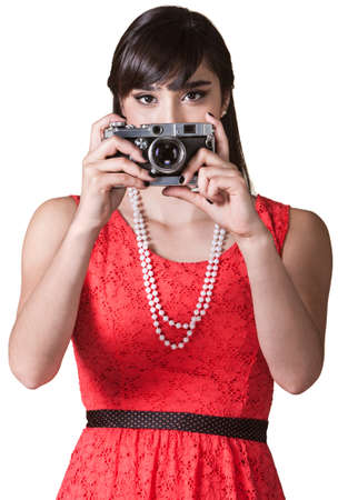 Pretty Mexican woman over white background taking pictures Stock Photo - 17801514