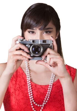Female photographer with antique point and shoot camera photo