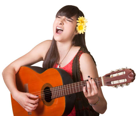 Goofy guitarist singing with eyes closed over white background Stock Photo - 17801497