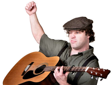 Serious European folk musician playing guitar over white
