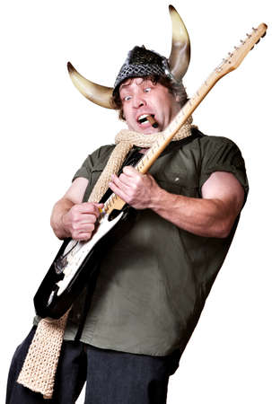Excited man in scarf and viking helmet playing guitar Stock Photo - 17801515