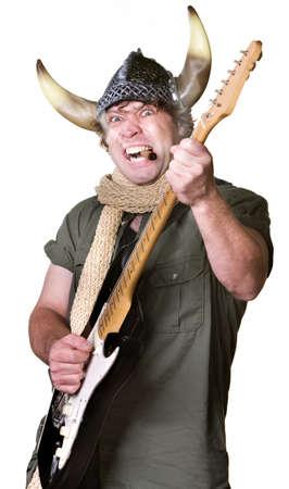 Cigar smoking heavy metal guitarist with scarf Stock Photo - 17801513