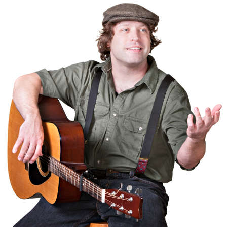 Cheerful guitar player with arm extended on isolated background Stock Photo - 17991539