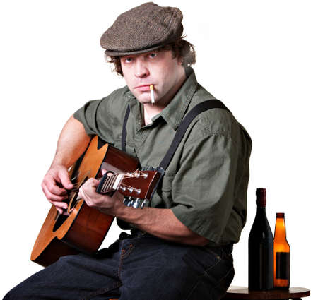 Guitar player with cigarette and bottles of beer Stock Photo - 17991556