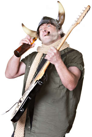 Rock musician with electric guitar smoking and drinking Stock Photo - 17991545