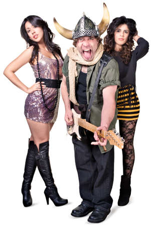 Punk rock musician with fans sticking out tongue Stock Photo