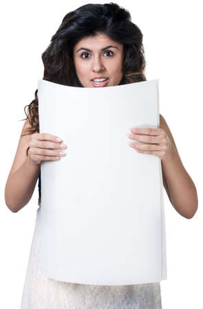 Startled Native American woman holding blank poster Stock Photo - 17991547