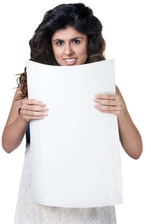 Smiling Native American woman with blank poster on white background photo