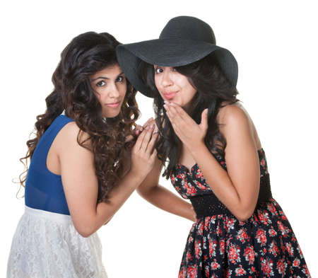 Pair of cute young women standing close together Stock Photo - 17991534