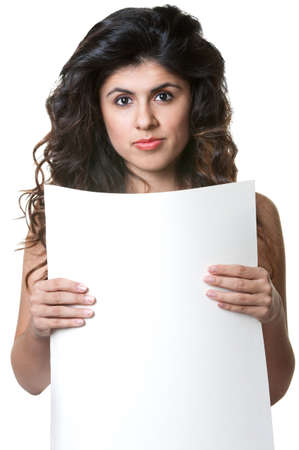 Cute Hispanic female holding blank sign over white background Stock Photo - 18123496
