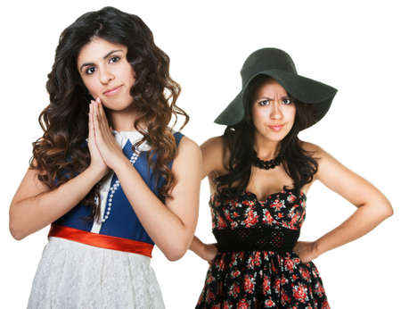 gullible: Jealous sister with innocent woman in front on white background