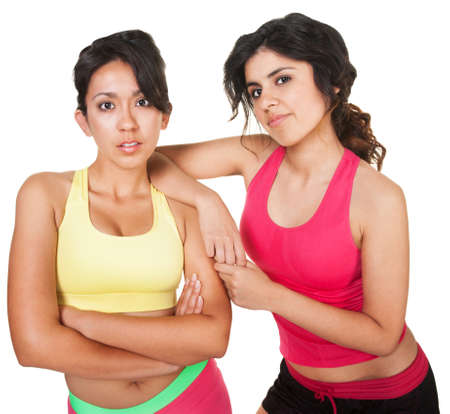 Calm Native American woman and friend in fitness clothes Stock Photo - 18123509