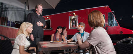 Hipster and friends talking with chef at canteen diner Stock Photo - 18123503