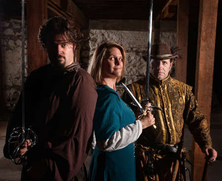 swashbuckler: Trio of brave European medieval characters Stock Photo