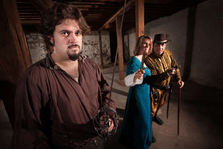 live action: Aggressive live action role playing game medieval characters Stock Photo