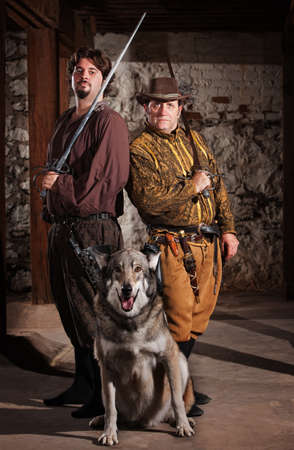 swashbuckler: Confident middle ages heroes with swords and dog