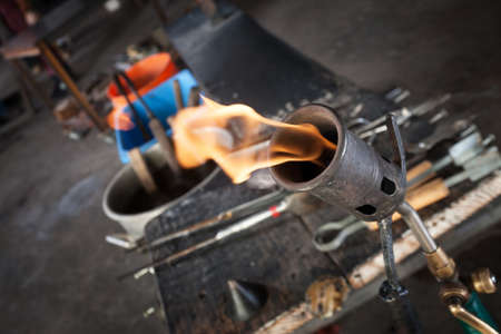 blowtorch: Close up of blowtorch and glass making tools Stock Photo