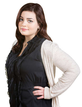 cynical: Skeptical pretty Caucasian woman with hands on hips