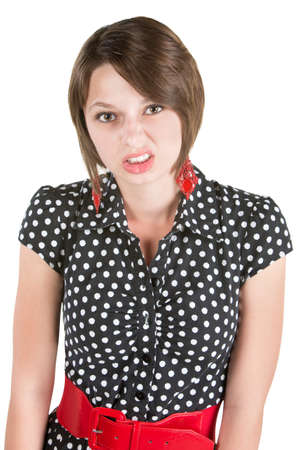 miffed: Offended European woman in polka dot dress