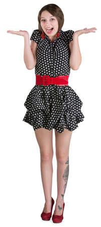 minifalda: Feliz mujer en mini falda blanca con las palmas hacia arriba