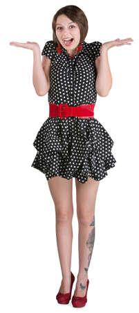mini falda: Feliz mujer en mini falda blanca con las palmas hacia arriba
