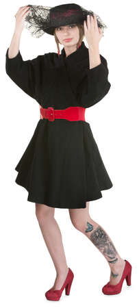 mini falda: Dama de negro y con velo mini-falda de elevaci�n
