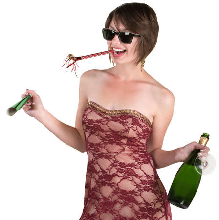 Drunk lady celebrating New Years over white background photo