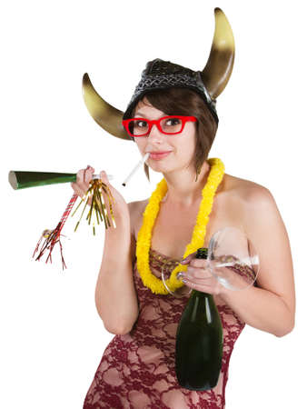 drunk party: Partying European woman with viking hat and cigarette Stock Photo