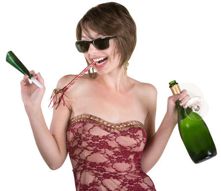 Female party girl with kazoo and wine bottle photo