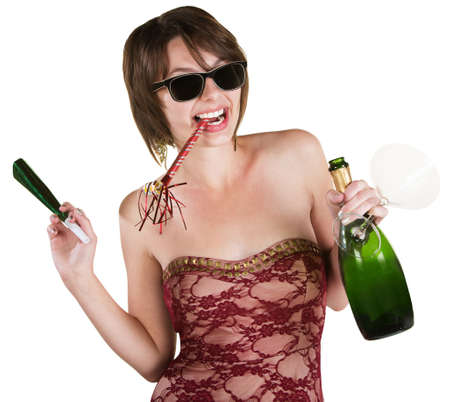 party favors: Happy lady with wine and party favors on white background Stock Photo