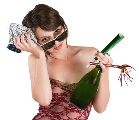 tipsy: Woman with hangover and ice pack over white background