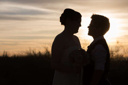 Gay couple married in front of beautiful sunset Stock Photo - 19242533