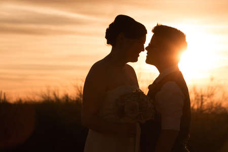 Beautiful same sex couple in civil union at sunset Stock Photo - 19242541